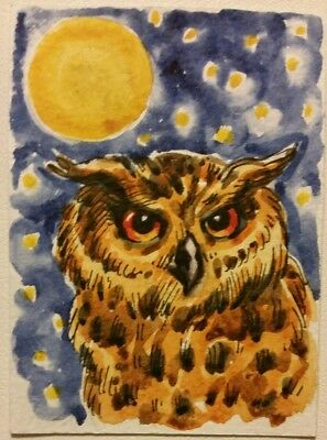 aceo Owl ORIGINAL PAINTING bird Watercolor ink miniature art card