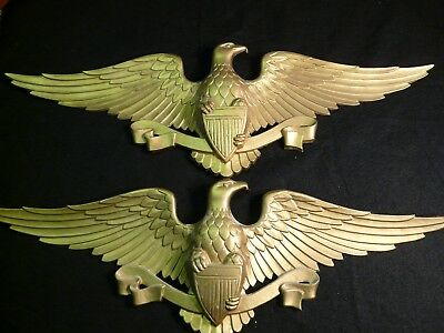 Vintage Pair (2) of SEXTON Brass Tone American Bald Eagle Wall Plaques ~26 x 9