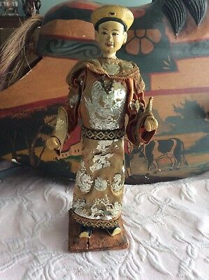 """Antique Chinese emperor doll 12"""" Rare."""