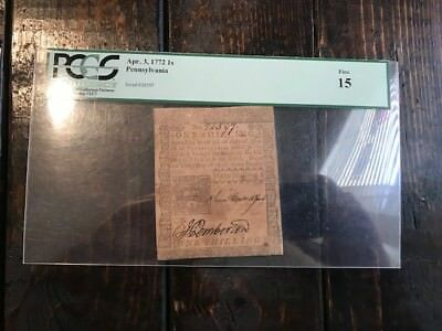 April 3, 1772 1 Shilling PCGS 15 Fine Note Bill Colonial Currency