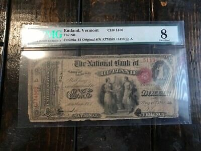 1865 $1 National Bank Note PMG 8 Very Fine Bill