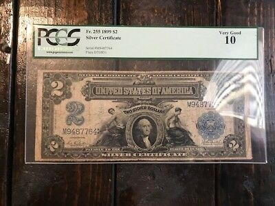1899 $2 Silver Certificate PCGS 10 Very Good Note Bill