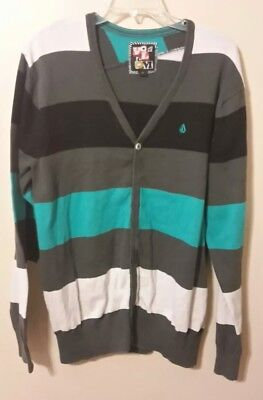VOLCOM boys size XL black,white,gray, teal long sleeve button up sweater