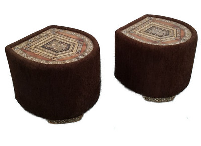 Rare Pair of Vintage Traditional Round pouffe /Stool with Inlay top and legs.