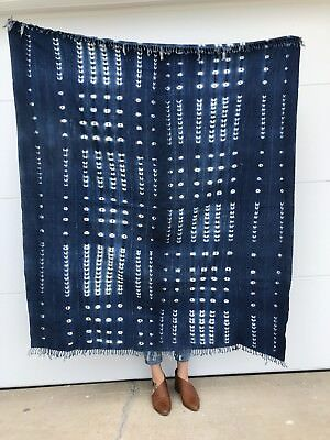 GORGEOUS Boho Indigo African Mud Cloth Throw Blanket (No. 258)