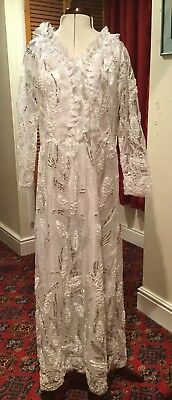 White & Silver Theatrical Dress Stage Costume