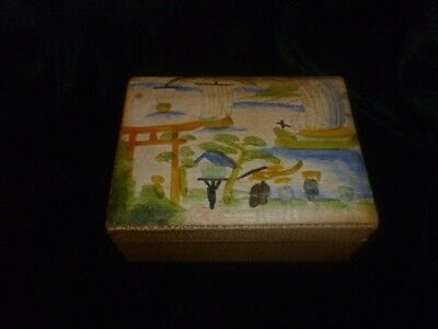 Vintage Japanese faux shagreen cigarette box - hand painted religious scene lid