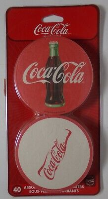 40 ct. COCA-COLA  COASTERS absorbent / dispensable NEW in Packaging