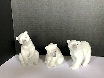 Set of 3 Llardo White Polar Bear Porcelain Figurines Made In Spain