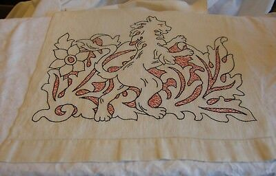 """Early Vintage Figural Embroidered Tablecloth Runner - Griffins - 15"""" by 41"""""""