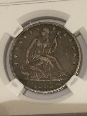 NGC VF30 1853 arrows and rays seated half dollar cool rotated die