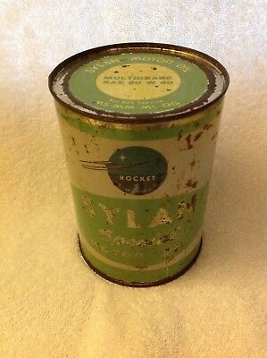 Super Rare Rocket Sylan Special Motor Oil Full Unopened Tin Can - Neat Graphics!