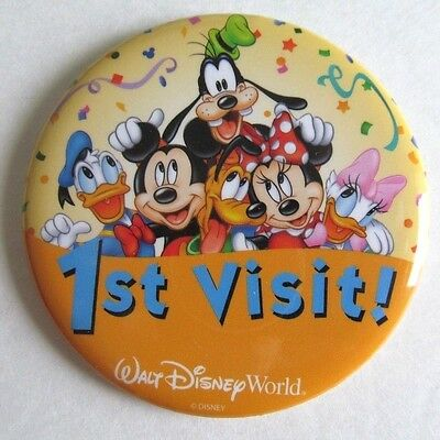 Lot of 16 WALT DISNEY WORLD BUTTONS - 8 each of 1st VISIT & HAPPY ANNIVERSARY