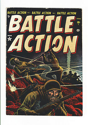 Battle Action #3 - Rare Atlas Comics Issue - Awesome Russ Heath Cover! 1952