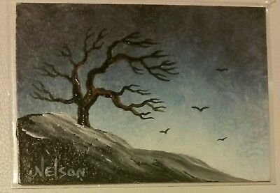 aceo ORIGINAL PAINTING Acrylic tree landscape miniature art artcard birds