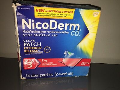 NEW Nicoderm clear patches step 3 - 14 patches 14 mg exp 09/17 damaged box