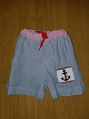 Boys Size 12 Months Classy Couture Smocked Swim Trunks