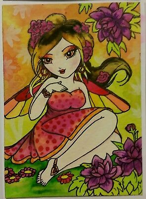 aceo ORIGINAL PAINTING Fairy Fantasy Watercolor ink Girl lady woman anime atc