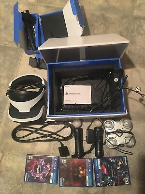 Sony PlayStation VR Headset bundle lot Camera 3 Games 2 Controllers Charger