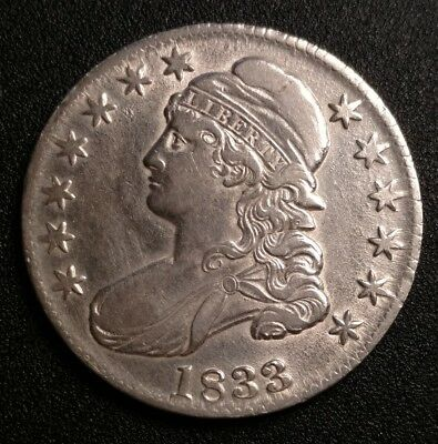 1833 Capped Bust Half Dollar AU Nice Type Coin