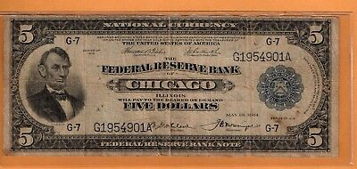 ***   1918  $5.00 Fed Res Note Chicago Dist   ****