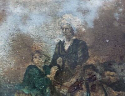 Antique 18th or 19th Century European Oil Painting - Farm Girls Portrait