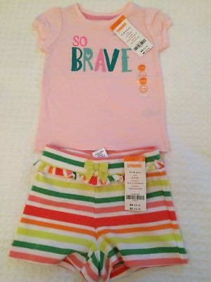 New Gymboree 2 Piece Outfit 'so Brave' Top & Shorts Set 12-18m ~NWT~