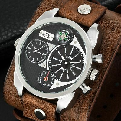 Military Dual Timezone Men Watch Compass Retro Brown Wide Leather Cuff