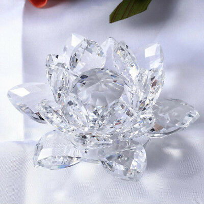 4 Inch Crystal Lotus Flower Gift Box, Wedding Gift Ornaments Decor Clear
