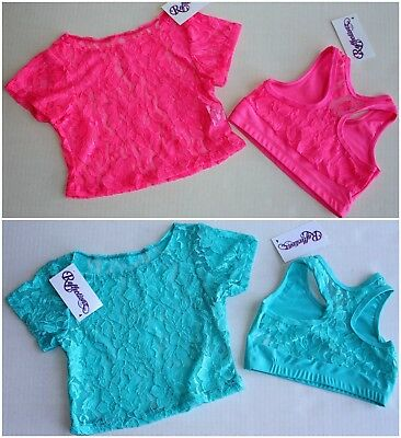 4 pc LOT Girls Dancewear Dance Crop Top Lace Overlay Sets Neon Hot Pink Aqua 4