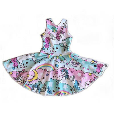USA Kids Baby Girls Unicorn Party Pageant Princess Dress Sundress Clothes Casual