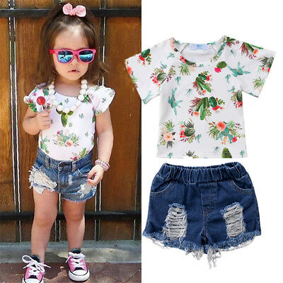 USA Fashion Kids Baby Girls Floral Cereus Tops T-shirt Denim Pants Shorts Outfit