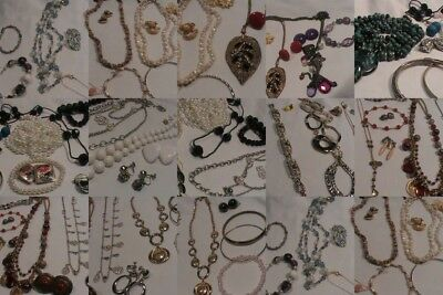 Vintage to Now Costume Jewelry Lot Necklace Bracelets and Clip on Earrings 50 pi