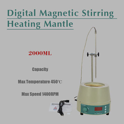 2000ml Electric Digital LCD Magnetic Stirring Heating Mantle 842℉ 450W 0-1400prm
