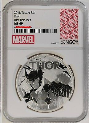 2018 Tuvalu Thor 1 oz Silver Marvel Series $1 NGC MS69 FR Excl Label