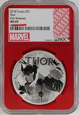 2018 Tuvalu Thor 1 oz Silver Marvel Series $1 NGC MS69 FR Red Gasket