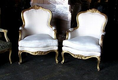 Gorgeous Italian Gilded Louis XV Bergere chairs