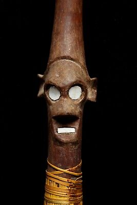 Old Solomon Island Staff - Walking Stick w Human Head