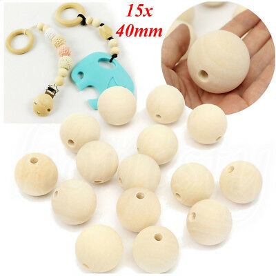 15Pcs 40mm Wooden Round Big Large Wood Ball Beads Unpainted Unfinished Natural