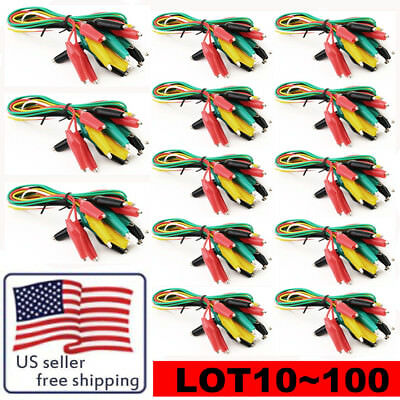 LOT With Alligator Clip Test Leads Set Insulated Test Cable Double-ended Clips H