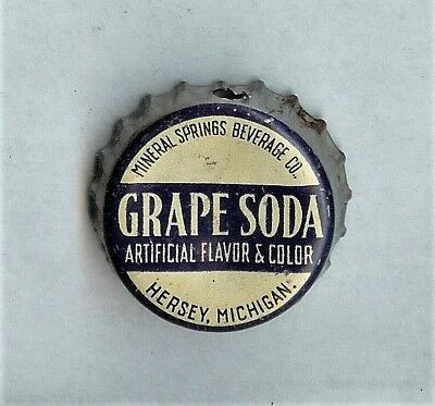 Mineral Springs Grape Hersey Michigan Used Cork Soda Bottle Cap Hole in Skirt