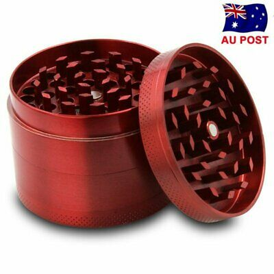 Red Metal Tobacco 4 Layers Crusher Smoke Herbal Herb Mill Grinder Hand Muller AU