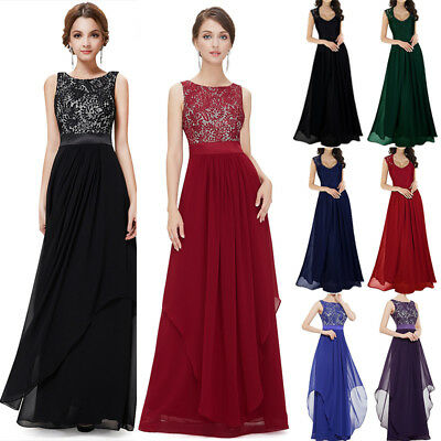 Long Chiffon Lace Evening Formal Party Ball Gown Prom Bridesmaid Maxi Dress 6-16