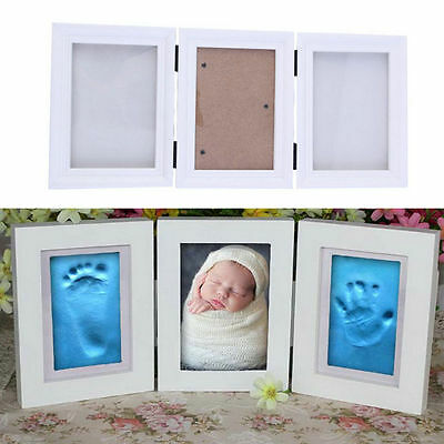 Photo Frame Newly Born Baby Foot/Hand Print Cast Set Christening Gift Blue mud