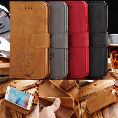 Retro Pattern Leather Wallet Magnetic Card Pouch Flip Case Cover For Samsung