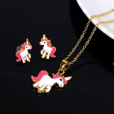 Unicorn Animal Children Jewelry Cat Dog Bees Necklace Stud Earring For Kids Gift