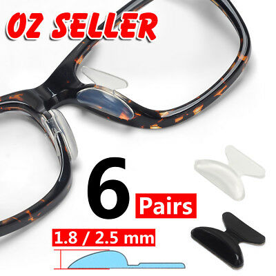 6 Pairs Silicone Anti-Slip Stick On Nose Pads for Eyeglass Sunglasses Glasses AU