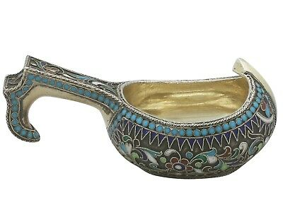 Antique Russian Silver Gilt and Polychrome Cloisonne Enamel Kovsh