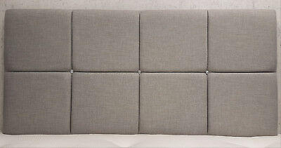 "5ft King Size Sabden 28/"" High Silver Grey Crushed Velvet Crystal Headboard"
