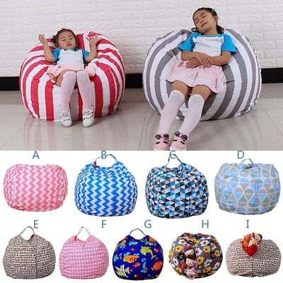 Kids Stuffed Animal Storage Bean Bag Chair Seat Plush Toy Home Organizer Beanbag